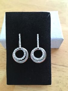 Pierced earrings - silver & diamond look