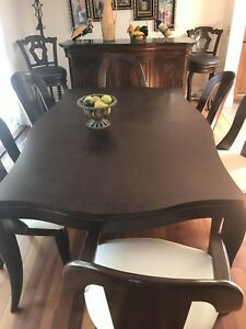 Solid wood dining room table and bar
