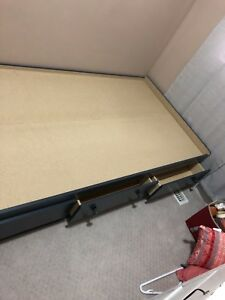 Great condition solid wood Twin bed with three drawers