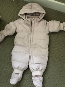 Baby GAP girls 0-6 months pink down snow suit