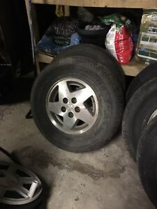 Set of 4 alum rims and one spare oem from a Jeep Grand Cherokee