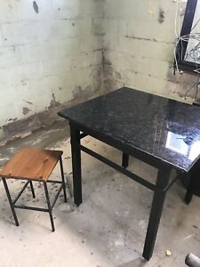 Granite square table with 4 stool chairs