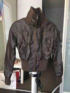 Dark brown faux leather bomber jacket