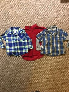 3 boys long sleeve shirts size 18-24 months