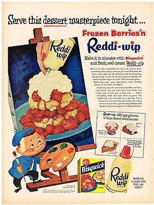 Vintage 1954 Magazine Ad For Reddi-Wip & Bisquick Dessert & Samsonite Card Table