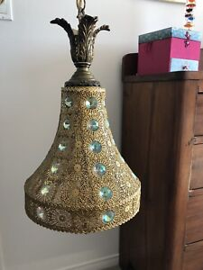 Antique light fixture lamp gold and jewel vintage chandelier