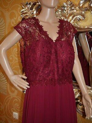 Abendkleid Brautkleid Maxikleid Kimono Kleid Übergröße in weinrot (#522), Gr. 52