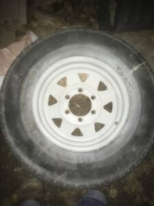 Trailer wheels and tires.