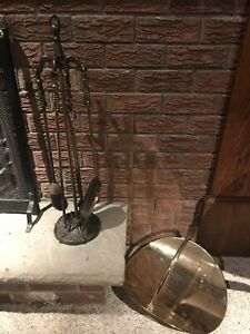 Fireplace tool set and wood cradle