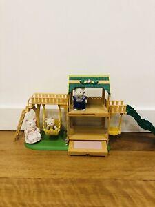 Sylvanian Family playground with white mouse family