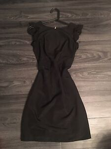 black dress with ruffle sleeves