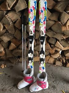 Girls down hill skis, boots and poles 100$