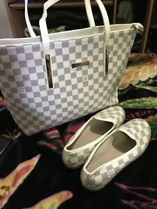 LV white and gray large leather purse with shoes size 7.5 new