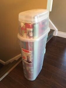 Christmas Wrapping Paper and bin