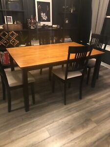 Teak Top Table with Black Base with Chairs
