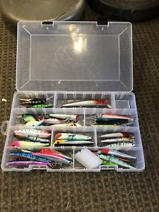 Assorted bass pro lures and large bass pro case