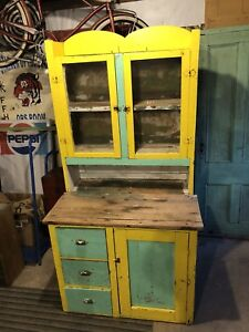 Early hand made step back cupboard