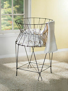 Vintage Wire Laundry Basket Hamper