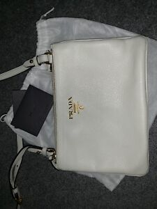 Prada white vitello phenix crossbody bag