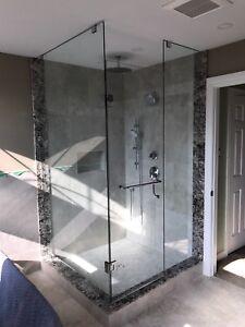 FRAMELESS SHOWER GLASS DOORS ENCLOSURES BATHTUB MIRRORS RAILINGS