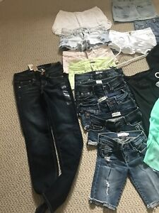 Assorted teen clothing shorts jeans skirt tops