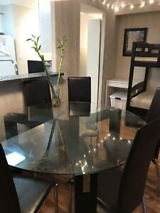 Structube Glass Dining table + 6 chairs