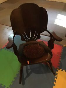 Antique leather seat rocker