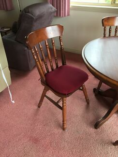 Colonial 4 seater timber dining table + 4 chairs