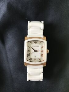 Used White Ceramic Emporio Armani Watch Solid Stainless Steel
