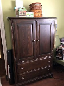 Wooden armoire/dresser and box spring  DRESSER SOLD