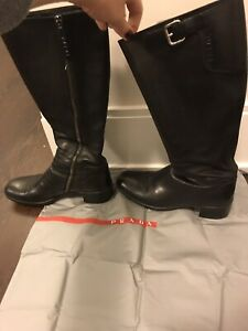 Prada Sport black leather riding-style boots size 37