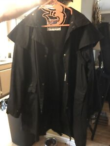 Leather oil duster coat