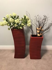 Red floor vases