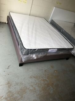 【BRAND NEW】fabric bed base and medium firm bonnell spring mattress