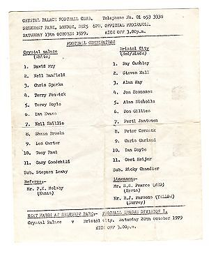 Crystal Palace v Bristol City Reserves Programme 13.10.1979