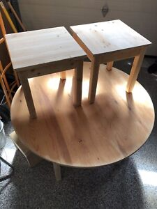 IKEA Solid Unfinished Pine Coffee Table and Side Tables Set