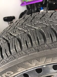 """16"""" winter tires Goodyear with steel rims practically new $500"""