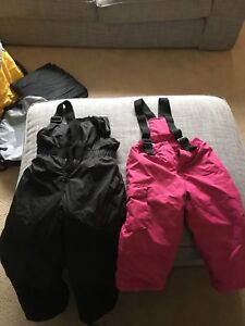 Snow pants size 5, 4 in black (two pair) pink 3
