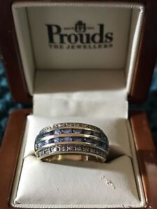 SAPPHIRE & DIAMOND RING $260 Size o-p Tenambit Maitland Area Preview