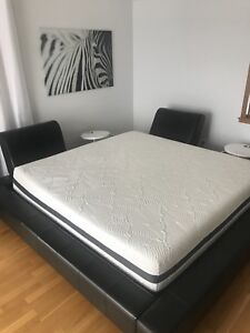 Genuine leather king size bed and Mattress