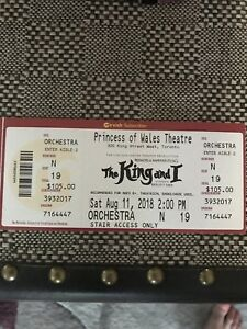 2 tickets - The King and I - orchestra seating