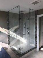 Frameless shower glass doors enclosures shelves railings mirrors