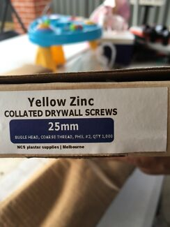 Drywall screws yellow zinc $10 for a box 8 boxes available