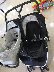 Practically New Steelcraft Agile Twin Pram with Capsule and Base Arundel Gold Coast City Preview