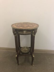 Antique French round side accent table