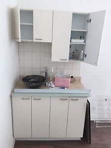 Glass sink with cabinets