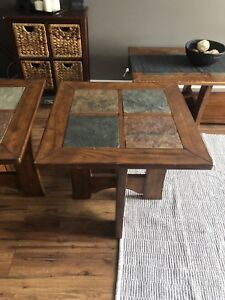 Solid wood with slate tiles, coffee table and 2 end tables