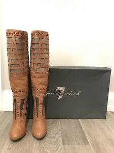 New 7 for All Mankind Suede and Leather Bettina Knee High Boots