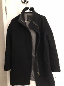 JCrew Stadium-Cloth Black Cocoon Coat, Size 6