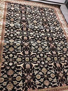 Area rug - black, red and beige floral